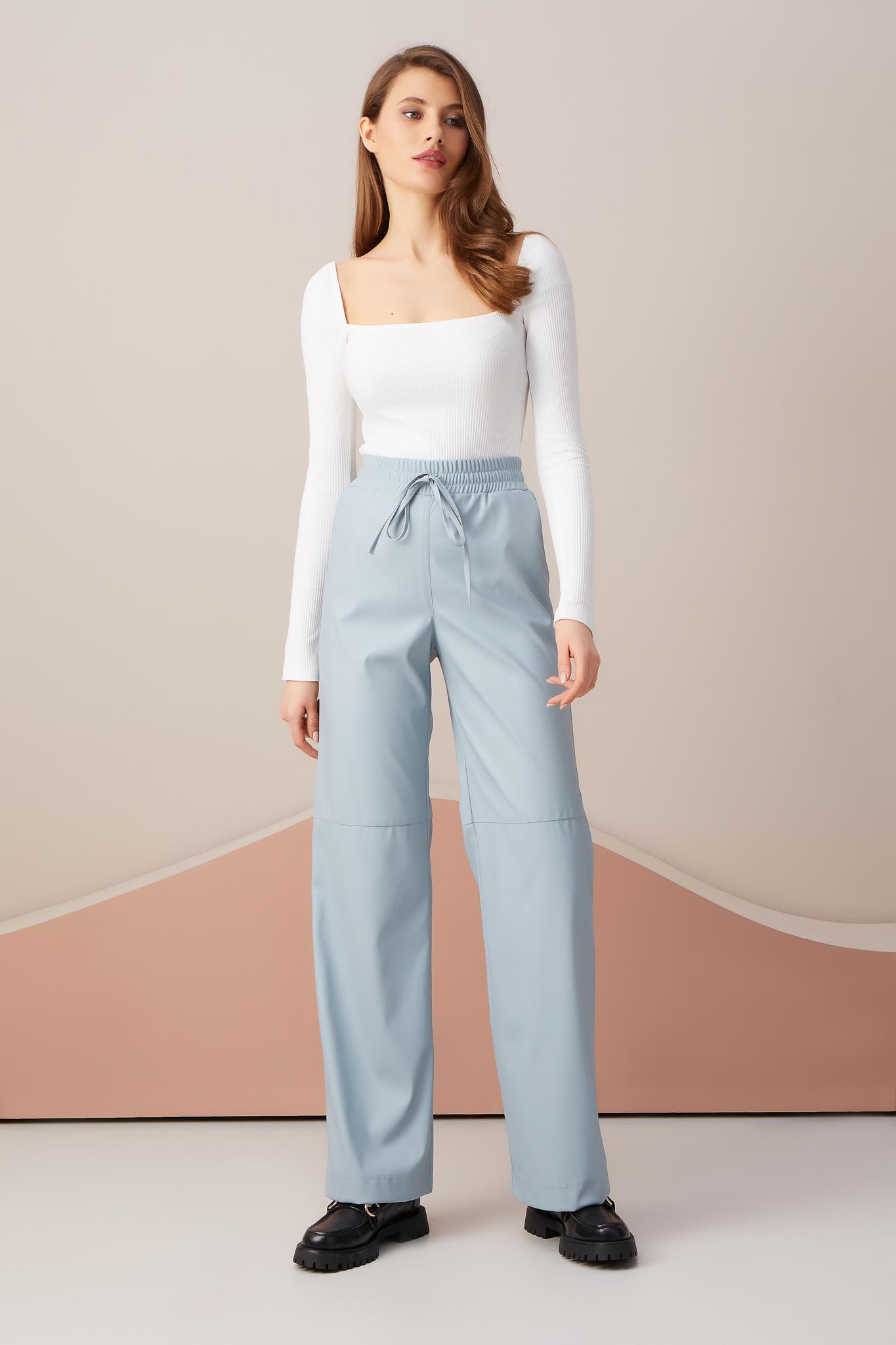 Кожаные брюки на резинке (голубой)