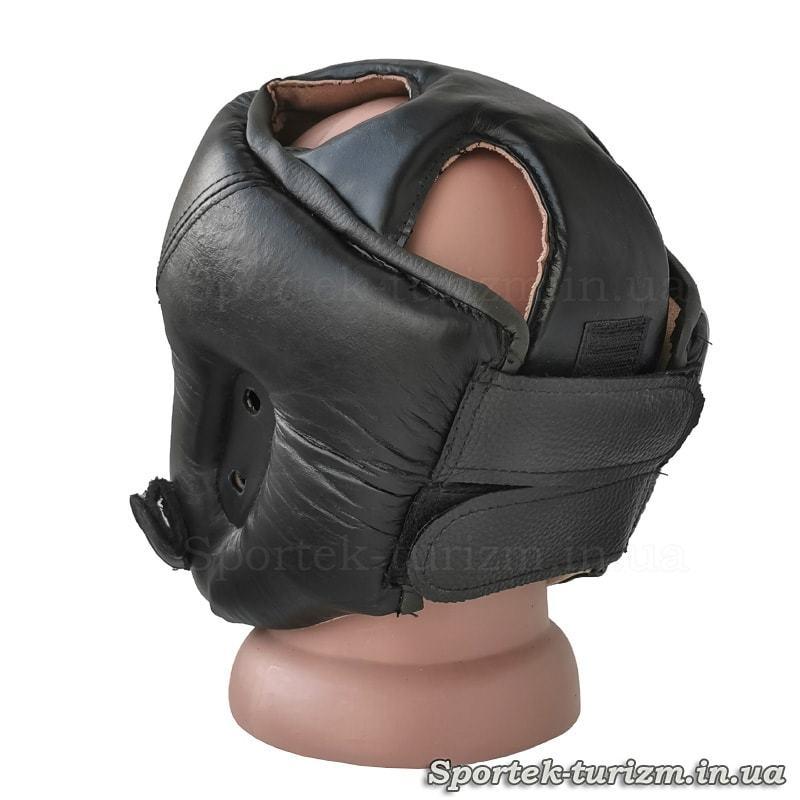 Вигляд ззаду на захисний шкіряний шолом для карате JAB