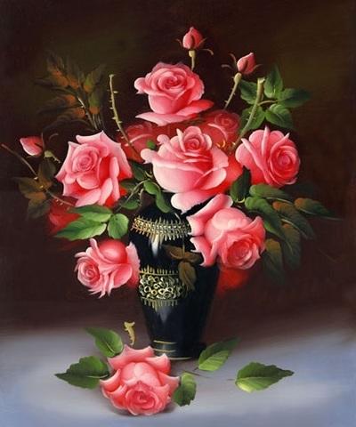 Алмазная Мозаика 38х28 Букет розовых роз в черной вазе (арт. K1668)