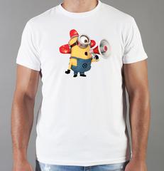 Футболка с принтом мультфильма Миньоны (Minions) белая 0010