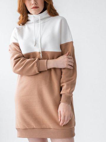 Платье-худи с объемным воротником и потайными молниями