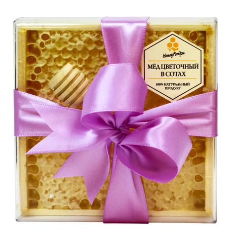 Натуральный мед в сотах HoneyForYou в подарочном оформлении с лавандовой лентой, 350 г
