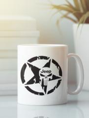 Кружка с рисунком Jeep (Джип) белая 006