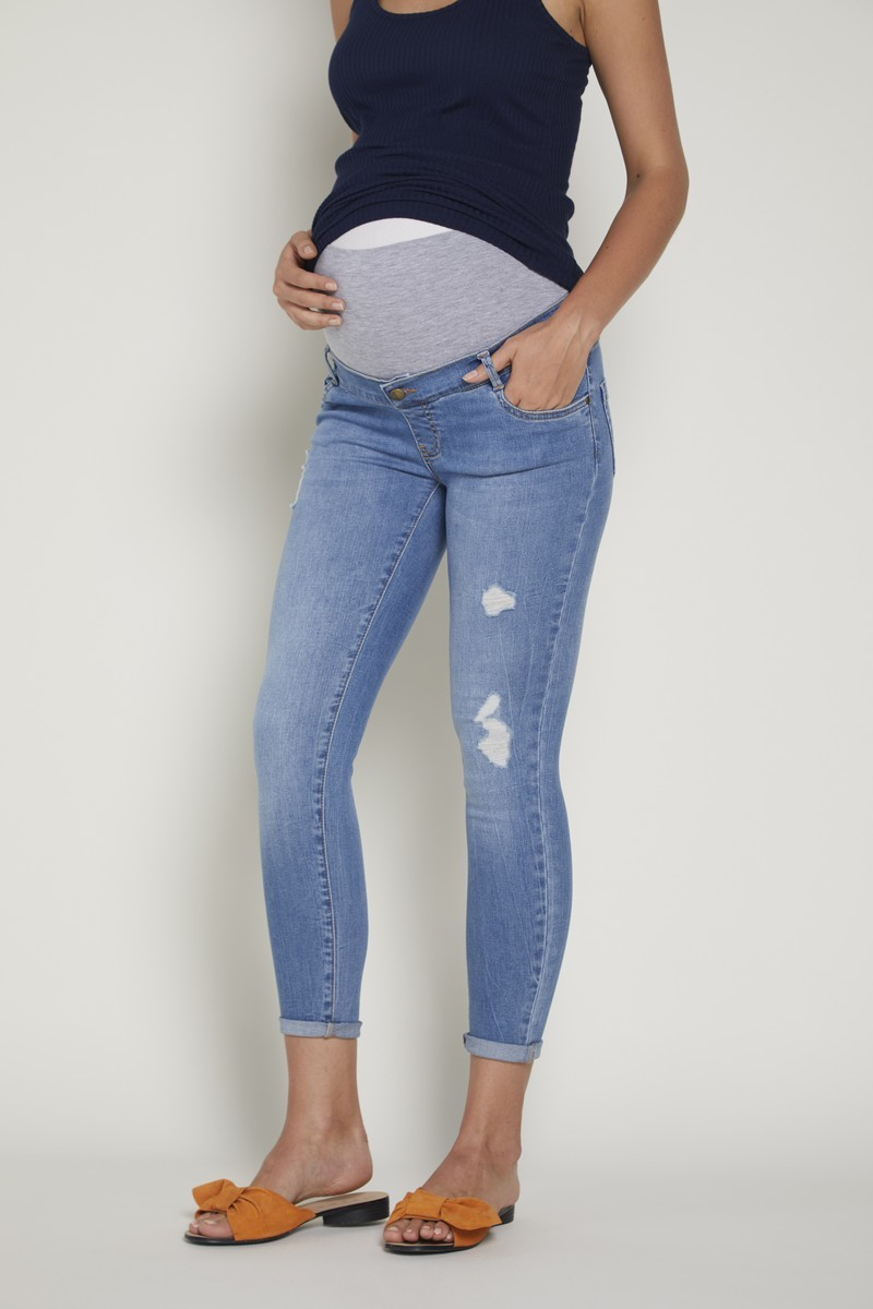 Джинсы для беременных GEBE, узкие, широкий бандаж, потертости от магазина СкороМама, голубой, размеры.