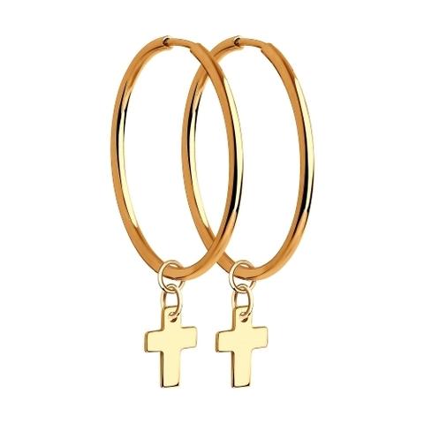 028671 - Серьги-конго из золота 585 пр с подвесками крестики