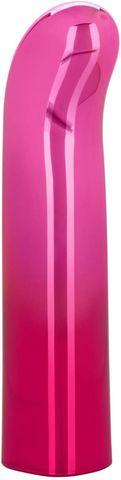 Розовый изогнутый мини-вибромассажер Glam G Vibe - 12 см.