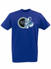 Футболка с принтом Знаки Зодиака, Водолей (Гороскоп, horoscope) синяя 005