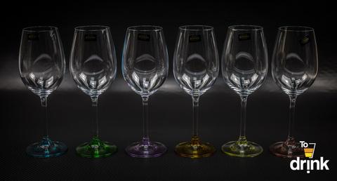 Набор из 6 бокалов для вина с цветным дном «Арлекино», 550 мл