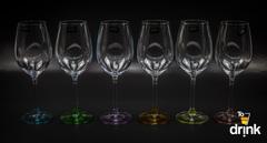 Набор из 6 бокалов для вина с цветным дном «Арлекино», 550 мл, фото 1