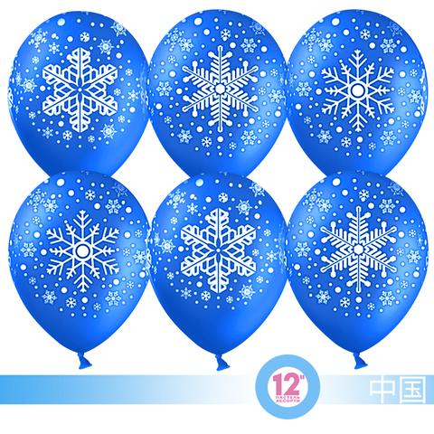 Воздушный шар (12''/30 см) Снежинка, Синий, пастель