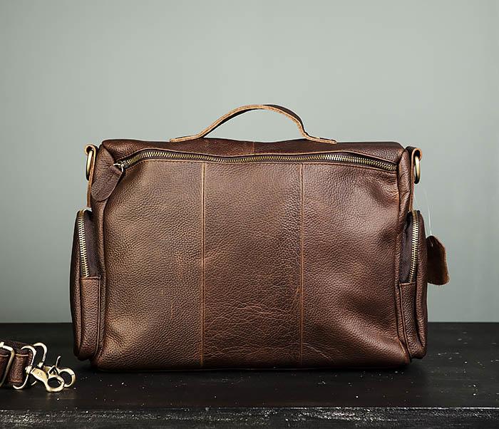 BAG466-2 Мужской портфель из натуральной кожи с ремнем фото 05