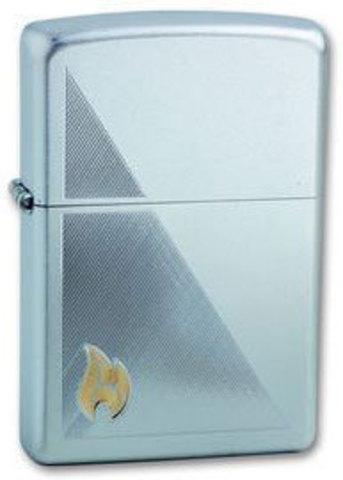 Зажигалка Zippo Flame с покрытием Satin Chrome, латунь/сталь, серебристая, матовая123