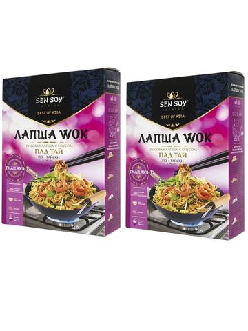 WOK по тайски Лапша рисовая с соусом Pad Thai Sen Soy Premium 2 штуки по 235 гр 1кор*1бл*2шт