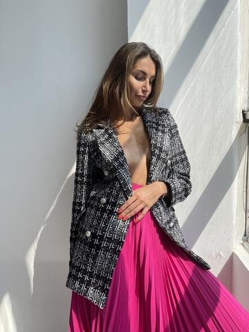 Пиджак в стиле  COCO, двубортный из ткани букле с отделкой из металлических пуговиц