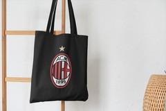 Сумка-шоппер с принтом FC ACM Milan (ФК Милан) черная 001