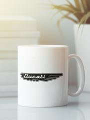 Кружка с рисунком Ducati (Дукати) белая 005
