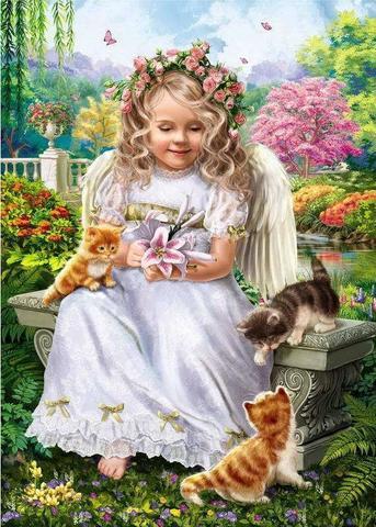 Алмазная Мозаика 5D 40x50 Девочка с котятами