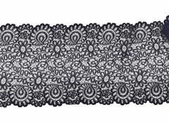 Эластичное кружево, 21,5 см, черное, (Арт: EK-2128), м