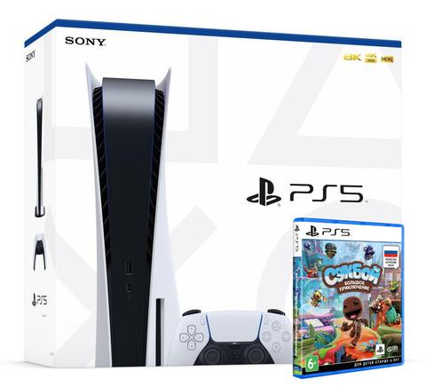 Игровая консоль Sony PlayStation 5 (White, CFI-1008A) + диск Сэкбой: Большое приключение (PS5, русская версия)