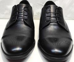Черные кожаные туфли со шнурками мужские Ikoc 2249-1 Black Leather.