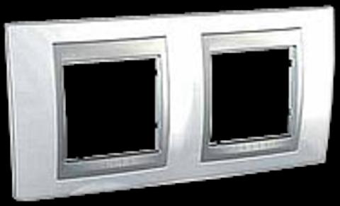 Рамка на 2 поста. Цвет Нордик-алюминий. Schneider electric Unica Top. MGU66.004.092