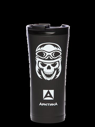 Термокружка Арктика (410-500 автокружка-термос, череп) 0,5 литра, череп, черный