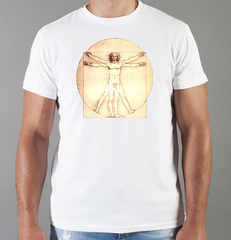 Футболка с принтом  Да Винчи (Леонардо Leonardo da Vinci) белая 001