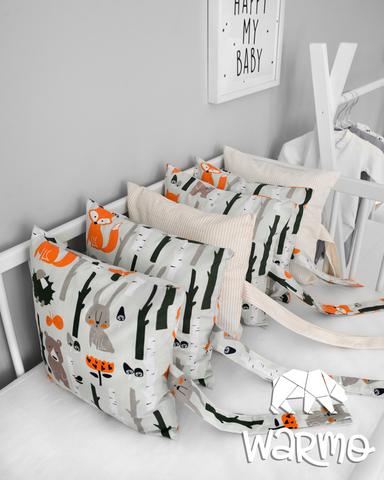 Набір бортиків-подушок в ліжечко 30x30см ЗВІРІ