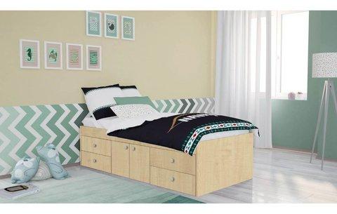 Кровать детская Polini kids Simple 3100 с 4 ящиками, натуральный