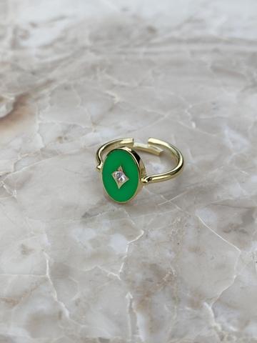 Кольцо Аврора из позолоченного серебра с зеленой эмалью