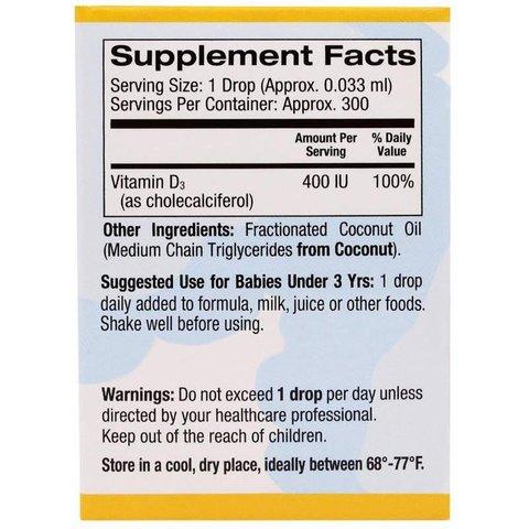 California Gold Nutrition, Витамин D3 в каплях для младенцев, 400 IU, 0.34 жидких унции (10 мл)