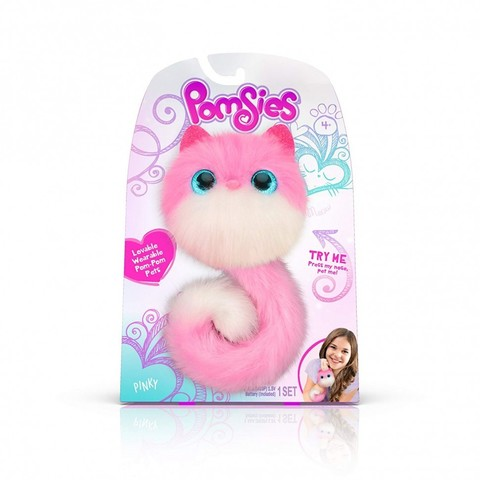 Pomsies Pinky, интерактивная игрушка котенок Помси бело-розовый оригинал