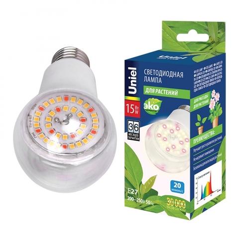 LED-A60-15W/SPFB/E27/CL PLP30WH Лампа светодиодная для растений. Форма