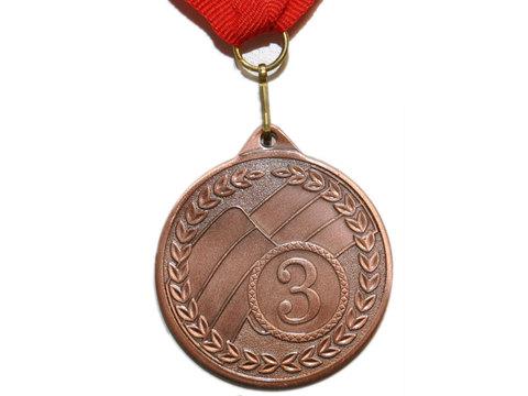 Медаль наградная с лентой за 3 место. Диаметр 5 см. МТ853-3