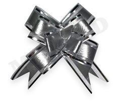 Бант-бабочка Серебряный с серебряной окантовкой (полипропилен. органза) 3 см, 10 шт, 1 уп.