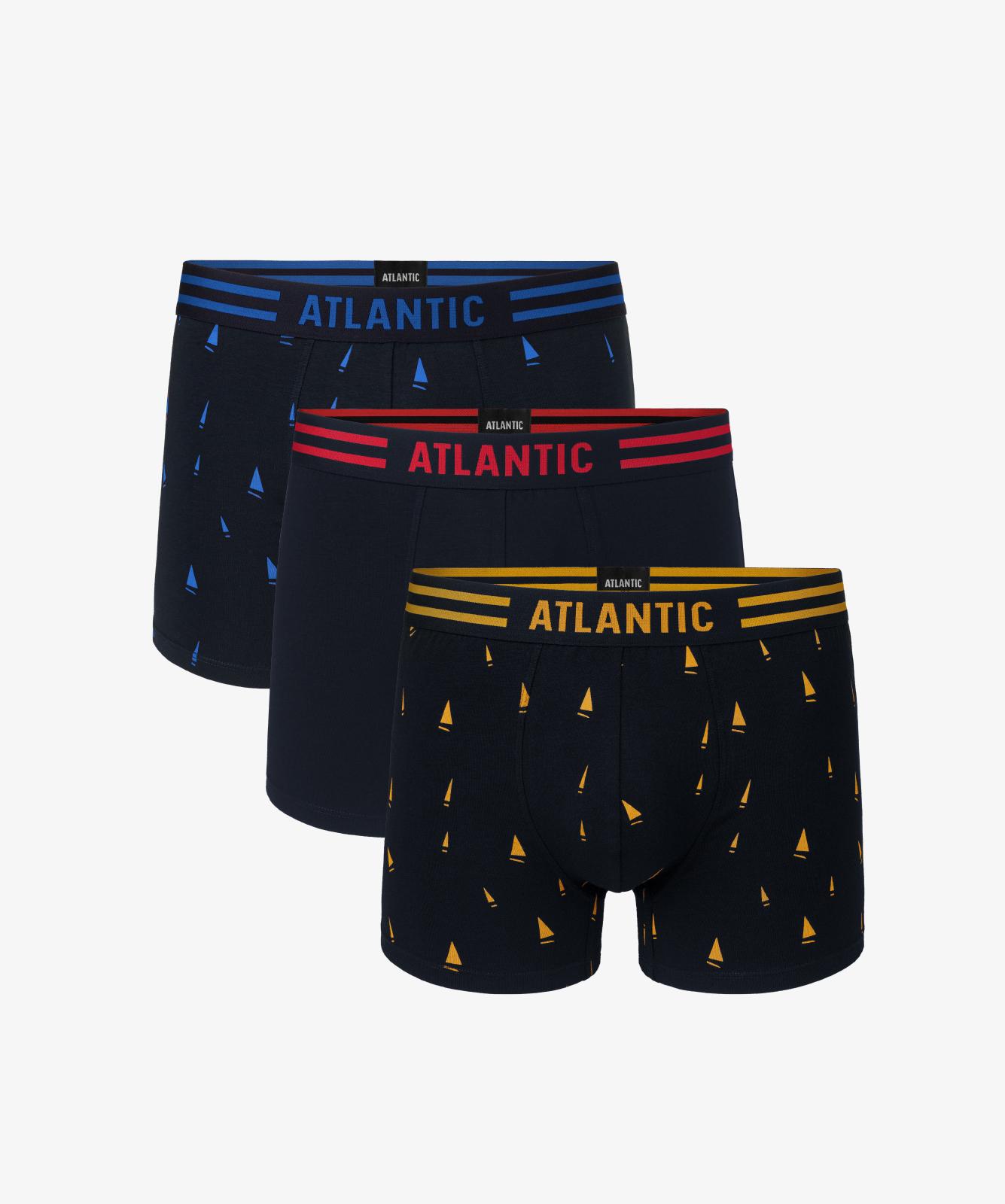 Мужские трусы шорты Atlantic, набор из 3 шт., хлопок, темно-синие, 3MH-021