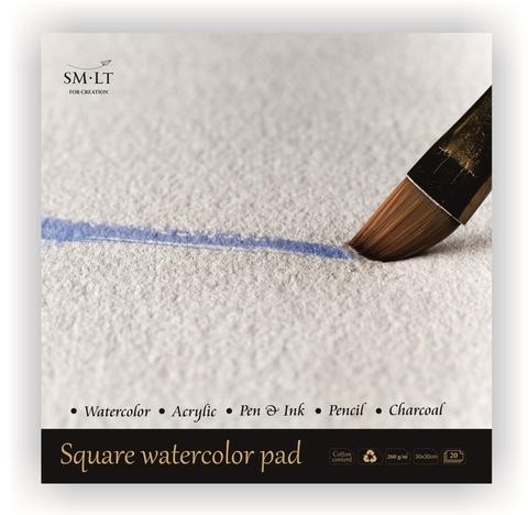 Альбом для акварели Watercolor 260г/м2 (содержит хлопок) 30*30см 20л склейка по одной стороне