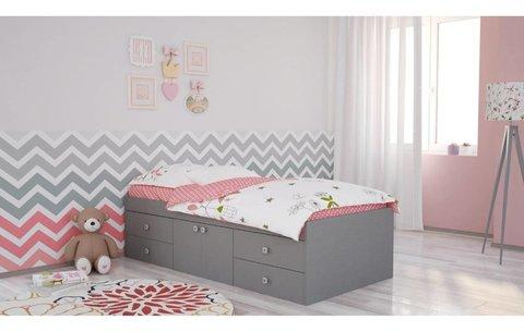 Кровать детская Polini kids Simple 3100 с 4 ящиками, серый