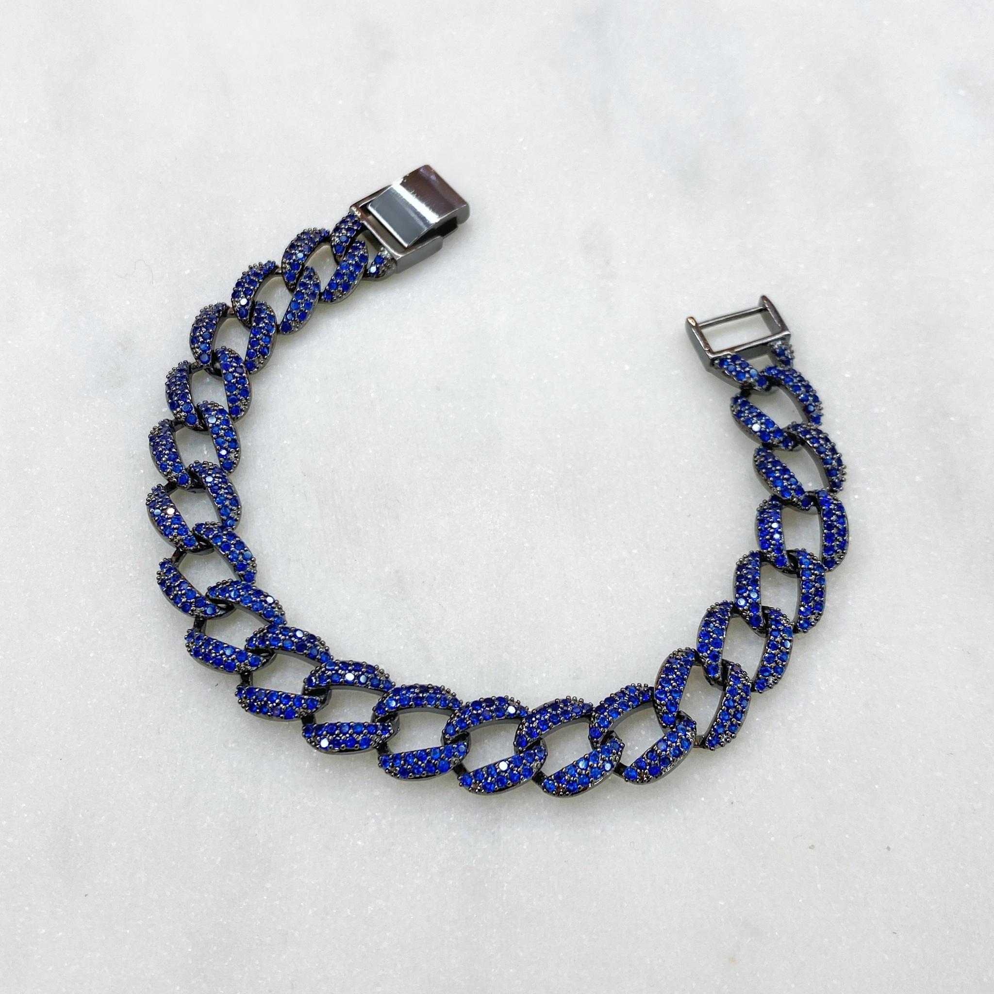Браслет-цепь с цирконами (синий/черный)