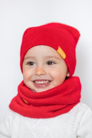 Детский снуд-горловинка из турецкой шерсти красный