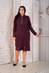 Кейт. Теплое стильное платье больших размеров. Бордо