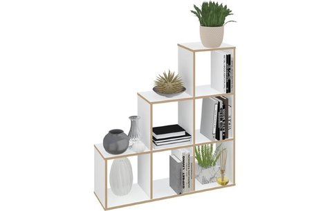Стеллаж Polini Home Smart Каскадный 6 секций, белый, эффект фанеры