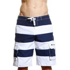 Мужские пляжные шорты Abercrombie&Fitch белые в темно-синию полоску