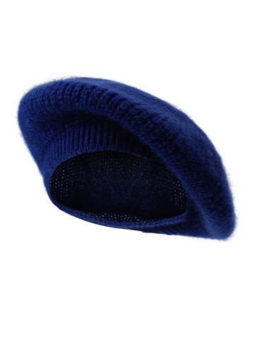 Женская шапка темно-синего цвета из мохера - фото 1