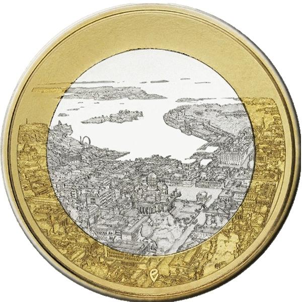 """5 евро Финляндия """"Морские виды Хельсинки."""" 2018 год"""