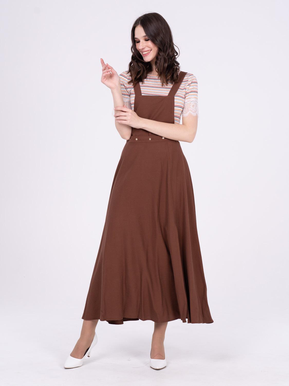 Платье З282-178 - Сарафан 2 в 1, отстегнув верхнюю деталь, вы получите длинную, расклешенную юбку с глубоким разрезом по левой ноге. Комфортная, практичная модель поможет создать разные образы для летнего отдыха и повседневных будней.