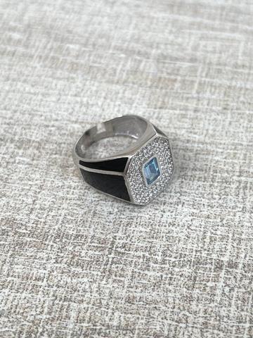 Кольцо Печатка черное, серебро