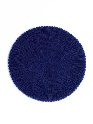 Женская шапка темно-синего цвета из мохера - фото 2
