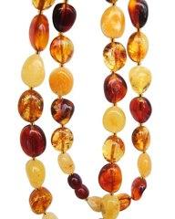 бусы из янтаря, форма галька округлая, разные цвета