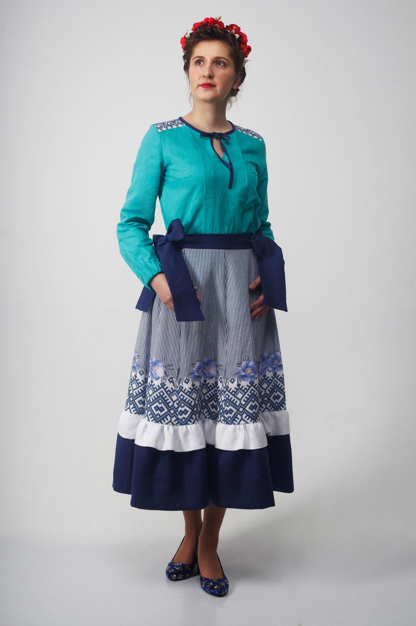 Блуза Самоцветы бирюза полный рост с юбкой Хозяйка тайги